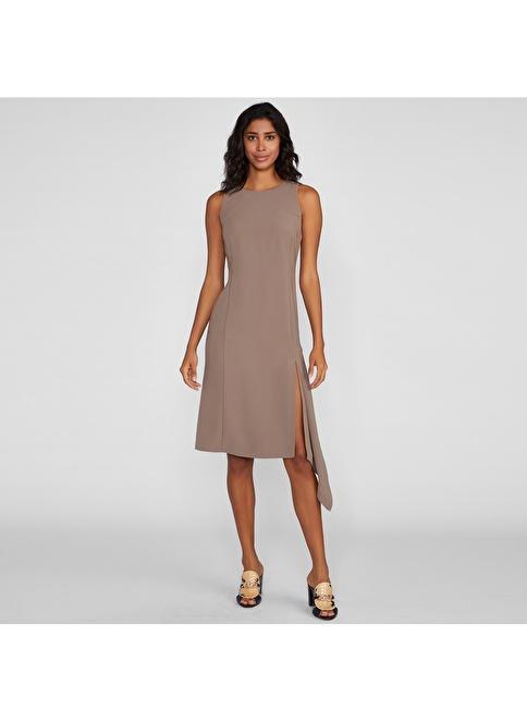 Vekem-Limited Edition Sıfır Yaka Sıfır Kol Asimetrik Kesim Elbise Vizon
